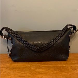 Brighton Shoulder Bag in Black Leather with Brown